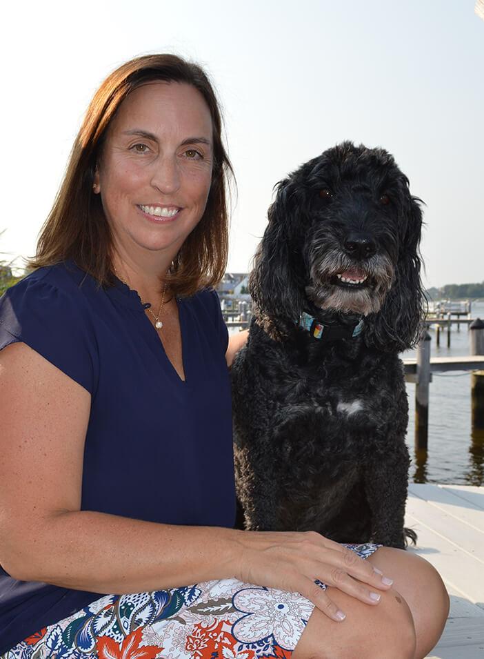 Jorie Johnson photo with dog Winston
